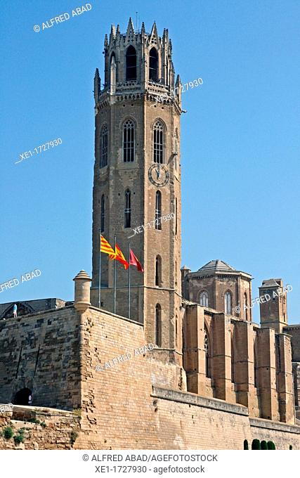 bell tower, Cathedral of La Seu Vella, s XIII, Lleida, Catalonia, Spain