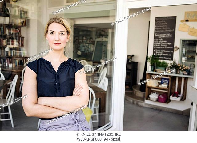 Portrait of confident woman in a cafe