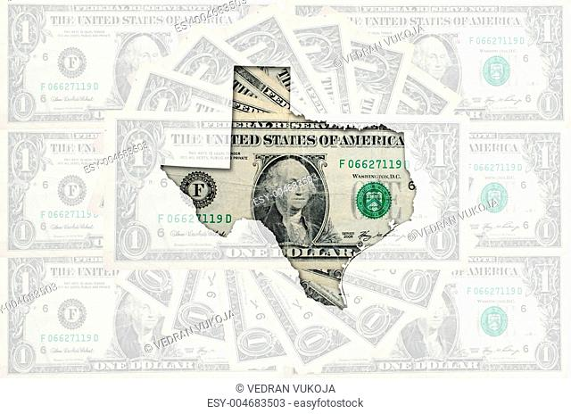 Outline map of texas with transparent american dollar banknotes
