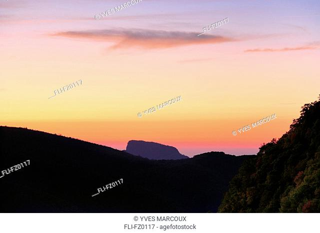 Artist's Choice: Table Rock Mountains at dawn from Parkway, Blue Ridge Parkway National, North Carolina