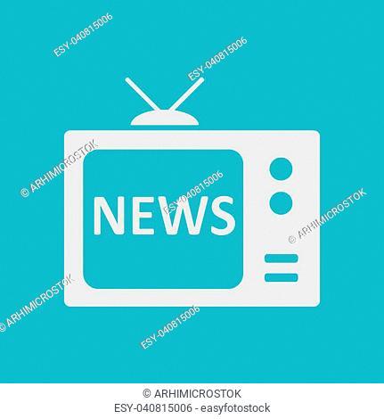 News reporter on tv. Flat design style. Mass media symbol