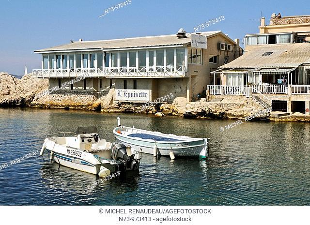 France, Marseille, Le Vallon des Auffes, petit port de pêche au coeur de la Ville, restaurant l'Epuisette
