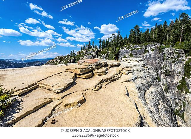 View of granite rocks along the side of a Taft Point Fissure. Yosemite National Park, California, United States
