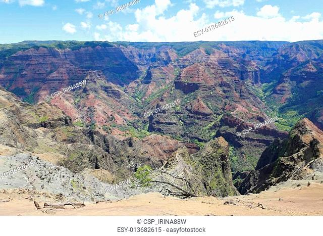 Picturesque and amazing view of Waimea Canyon, Hawaiian islands