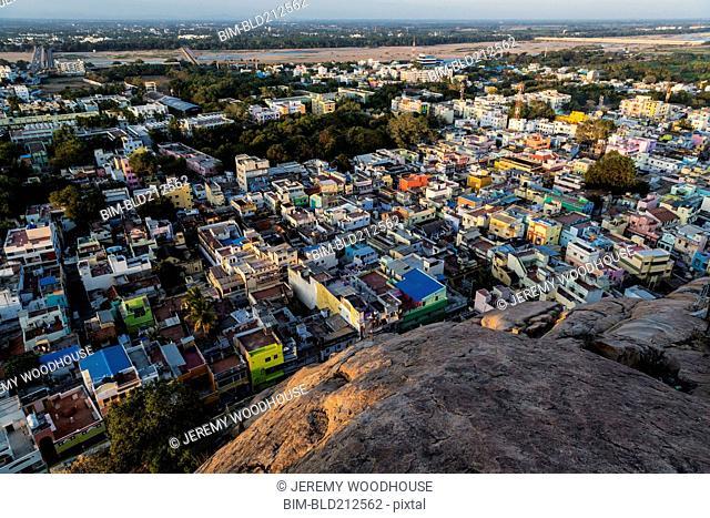 Aerial view of Trichy cityscape, Tiruchirappalli, Tamil Nadu, India