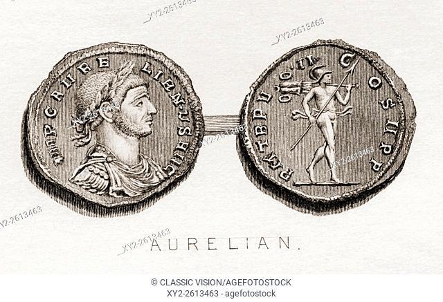 Coin from the era of Aurelian, Lucius Domitius Aurelianus, A. D. 214/215- 275. Roman Emperor