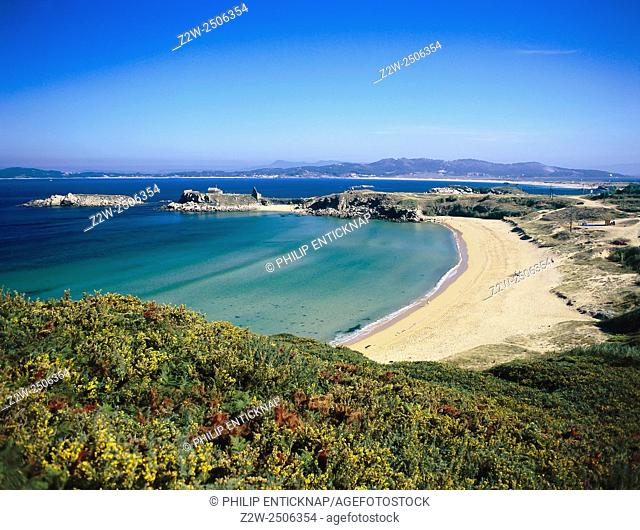 GALICIA . Beach Scene on O Grove Peninsular. A popular tourist destination during summer, O Grove is famous for its beaches