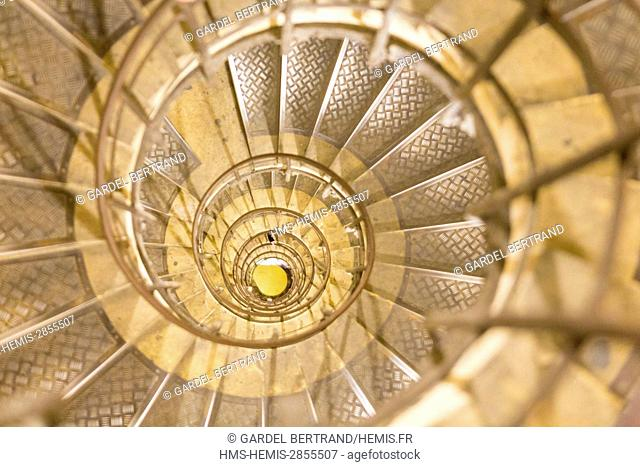 France, Paris, spiral staircase to access the terrace of the Arc de Triomphe