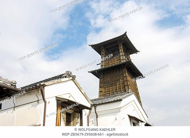 View of the wooden Bell Tower, a landmark and symbol in the warehouse district of Kawagoe near Tokyo, Japan