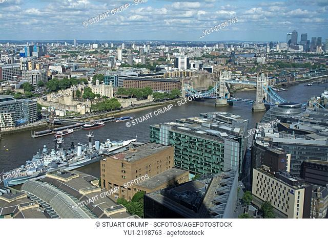 Tower Bridge, Tower of London, HMS Belfast and the River Thames from the 35th floor of The Shard