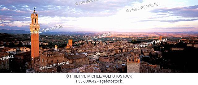 Mangia's Tower at Piazza del Campo. Siena. Tuscany. Italy