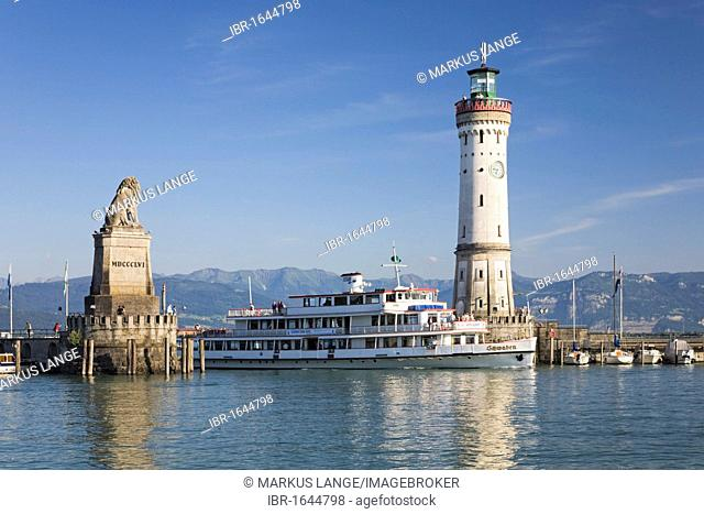 A passenger ferry entering the harbour of Lindau, Lake Constance, Bavaria, Germany, Europe