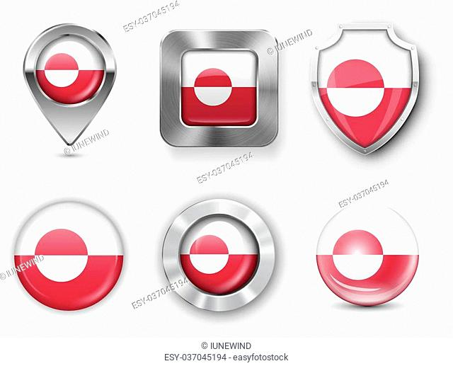 Greenland Metal and Glass Flag Badges, Buttons, Map marker pin and Shields. Vector illustrations