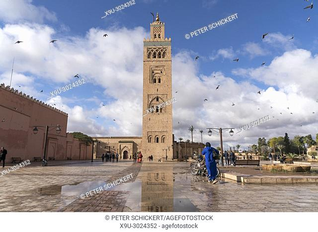 Koutoubia Mosque minaret, Marrakesh, Kingdom of Morocco, Africa