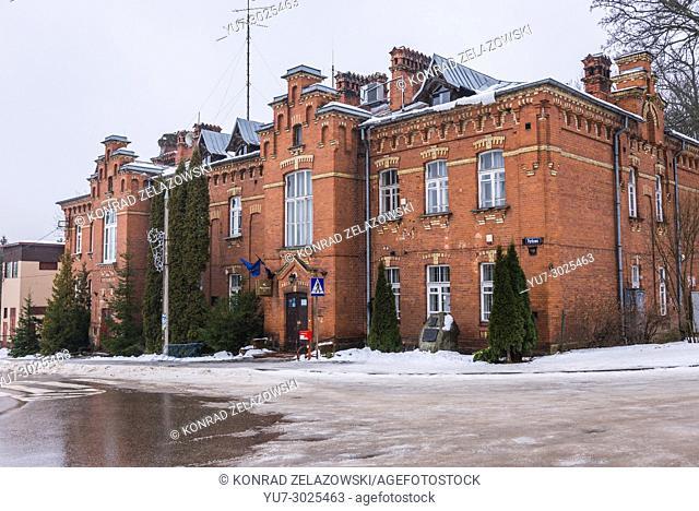 Poczta Polska (Polish Post - state postal administration of Poland) building in Bialowieza village, Podlaskie Voivodeship of Poland
