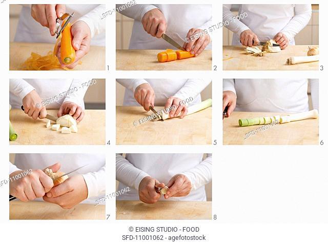 Soup vegetables being prepared