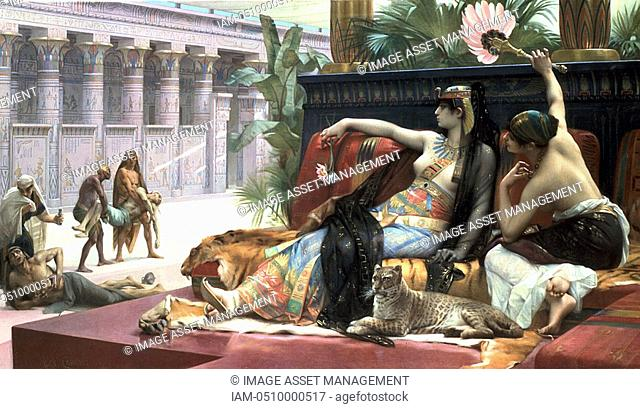 'Cleopatra testing poisons on those condemned to death'  The Ptolemaic dynasty in Egypt which ended with Cleopatra VII, was founded by Alexander the Great's...