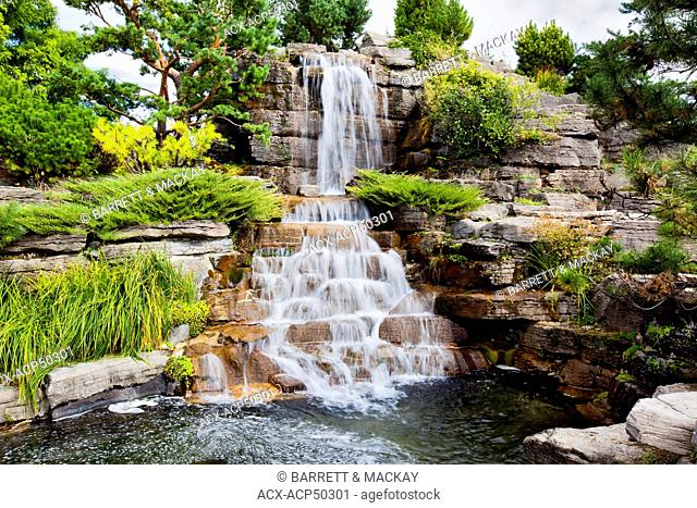 Waterfall, Montreal Botanical Gardens, Montreal, Quebec, Canada