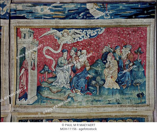 La Tenture de l'Apocalypse d'Angers, un ange annonce une bonne nouvelle 1,48 x 2,53m, ein Engel kündigt eine gute Nachricht an