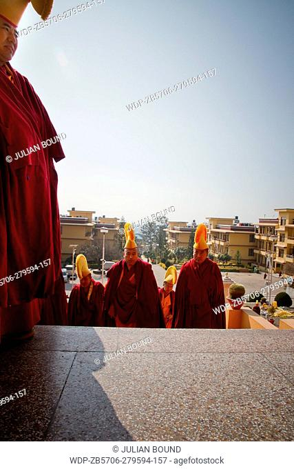 Monks of Gyuto monastery in traditional robes and hats, Dharamshala, India