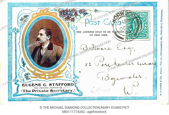 """Promotional postcard for The Private Secretary by Charles Hawtrey, from """"Der Bibliothekar"""" by Gustav Von Moser (1878). First produced t the Theatre Royal"""