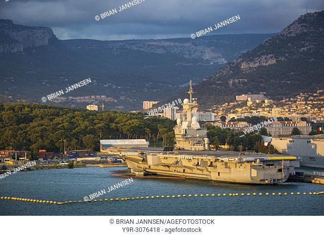 Aircraft Carrier Charles de Gaulle of the French Navy docked in Toulon, Provence, France