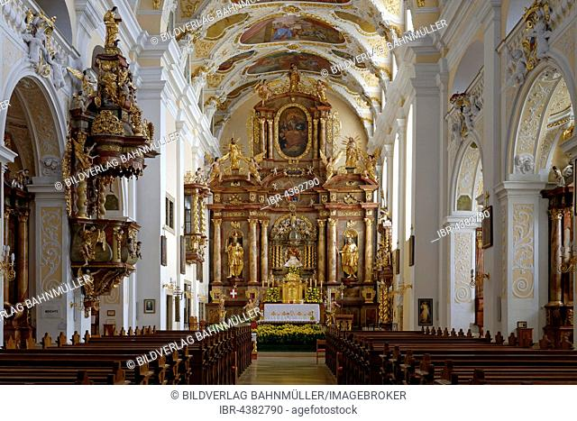 Chancel and high altar, around 1700, parish church, pilgrimage church Mariä Geburt, Frauenkirchen, Burgenland, Austria