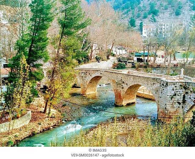 Bridge over the river Júcar in Alcalá del Júcar in Albacete province, Castilla la Mancha, Spain
