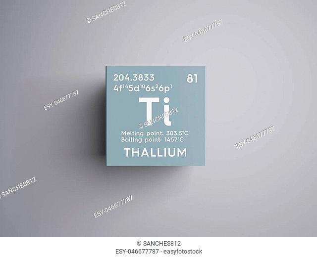 Thallium. Post-transition metals. Chemical Element of Mendeleev's Periodic Table. Thallium in square cube creative concept