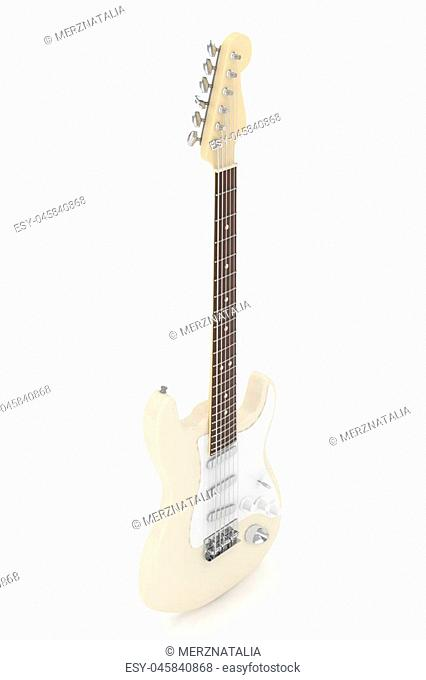 Isolated beige electric guitar on white background. Musical instrument for rock, blues, metal songs. 3D rendering