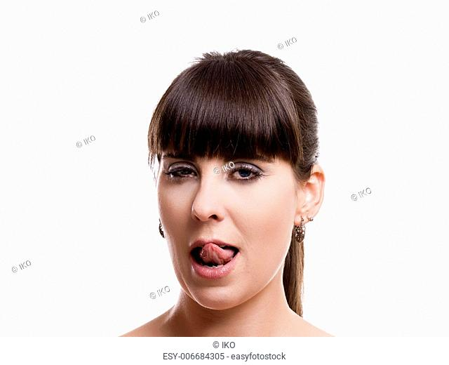 Close-up portrait of a woman with a expression of desire, isolated on white background