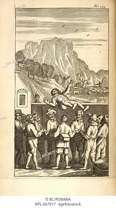 Sancho Panza being thrown into the air outside an inn. Image taken from Vida y Hechos del Ingenioso Cavallero Don Quixote de la Mancha Nueva edicion