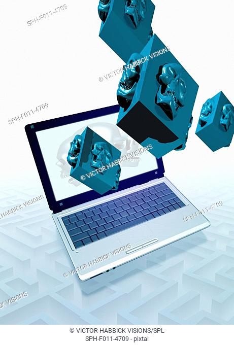 Data security, computer illustration