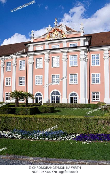 Neues Schloss, New Castle and Castle Gardens, Meersburg, Lake Constance, Baden-Wuerttemberg, Germany, Europe