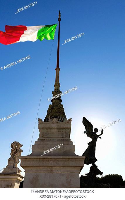 The Italian flag on the Vittoriano monument. Rome, Italy