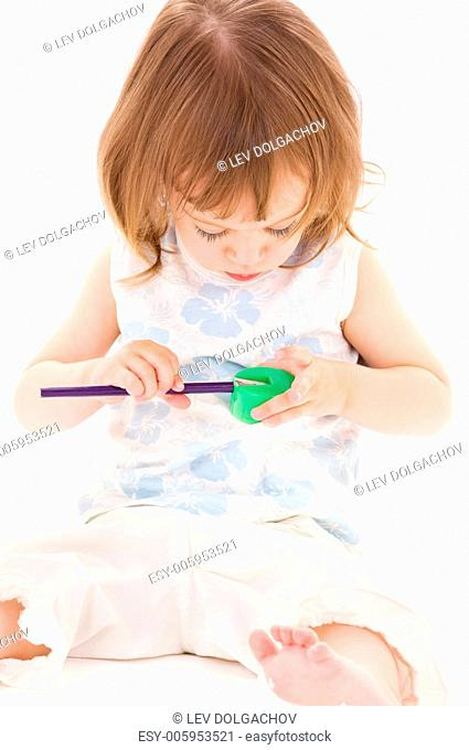 picture of little girl with color pencil over white