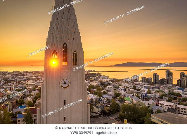 Midnight Sun, Hallgrimskirkja Church, Reykjavik, Iceland. This image is shot using a drone
