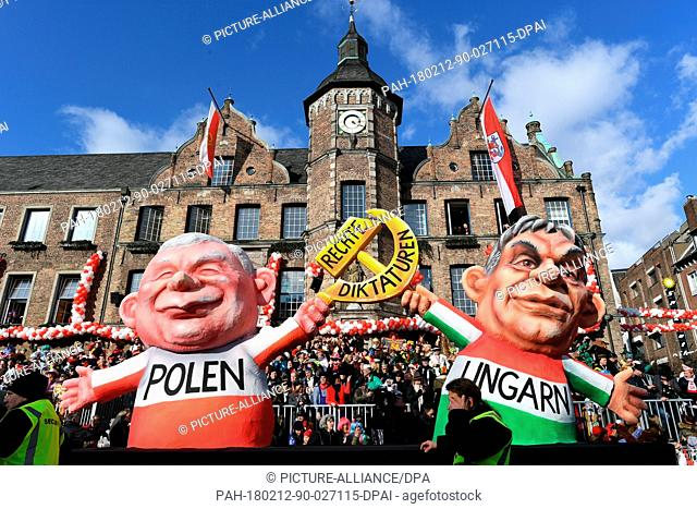 A political caricature float featuring 'Viktor Orban, Prime Minister of Hungary and the leader of the right-wing populist Law and Justice party (PiS by its...