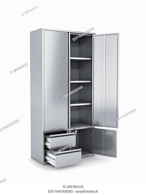 Metal cabinet with open doors, tools, documents. 3d illustration