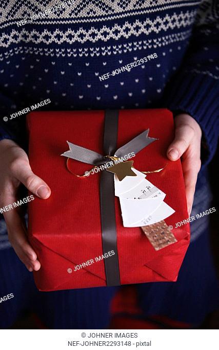 Girls hands holding Christmas present