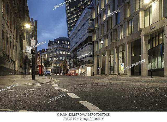 UK,City of London,EC3- Building works undertaken on Great Tower Street in the financial district
