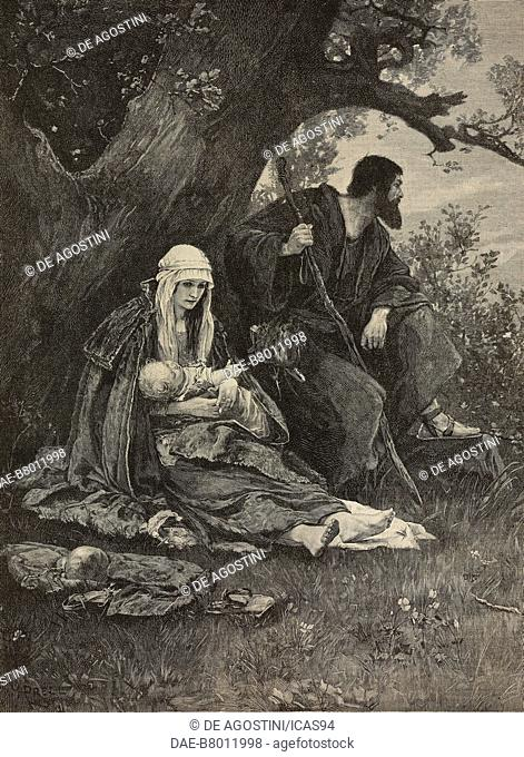 The Flight into Egypt, a rest by the way, engraving after a painting by Hermann Prell (1854-1922), from The Illustrated London News, volume 97, No 2696