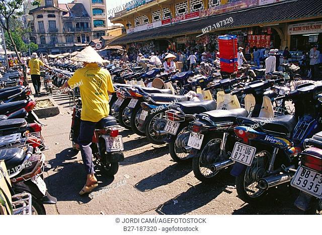 Motorcycle parking. Binh Tay market. Ho Chi Minh City. Vietnam