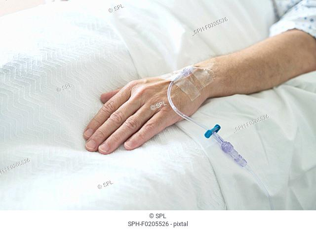 Patient's hand with cannula