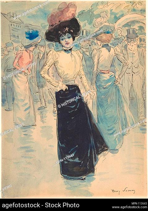 A Parisienne on a Crowded Street. Artist: Henri Somm (French, Rouen 1844-1907 Paris); Date: 1844-1907; Medium: Watercolor, graphite