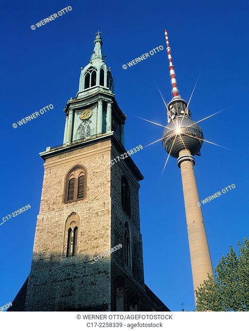 D-Berlin, Spree, Bundeshauptstadt, Kirchturm, D-Berlin-Mitte, evangelische Marienkirche, Pfarrkirche, Gotik, Berliner Fernsehturm, Aussichtsturm