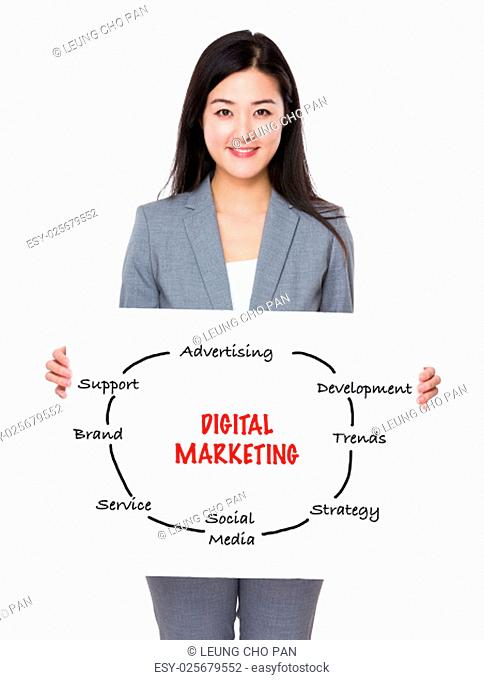 Asian businesswoman showing a placard showing with digital marketing concept