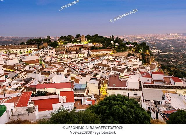 Dusk, typical white village of Mijas. Costa del Sol, Málaga province. Andalusia, Southern Spain Europe