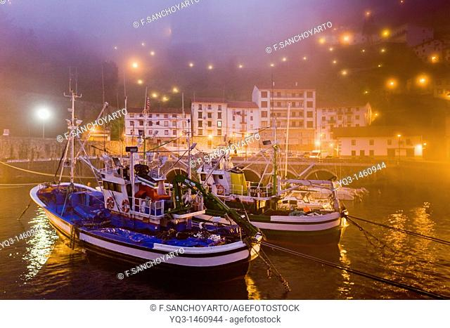 Fishing boats in the mist at sunrise, port of Elantxobe, Urdaibai, Vizcaya, Basque Country, Spain