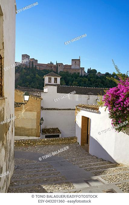 Alhambra view from Albaicin of Granada arabic old district of Andalusia muslim Spain